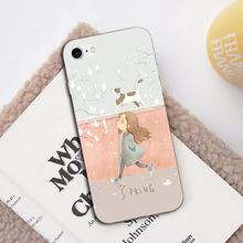Case For iPhone 8 Cartoon Cute Bear Rabbit Food Pattern Cases Back Cover Summer Hot Sunflower Floral Transparent Silicone Shell