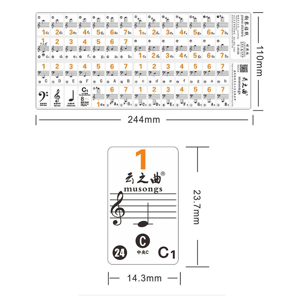 small resolution of  piano sticker transparent piano keyboard sticker 49 61 key electronic keyboard 88 key piano stave