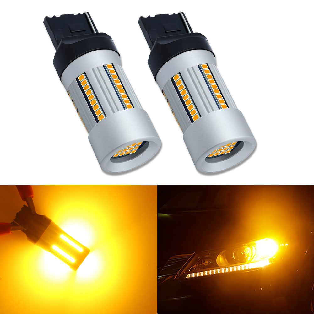 HSUN 2Pcs Car 7440 LED No Hyper Flash Amber Yellow 66SMD 2016 LED T20 W21W LED Bulb For Turn Signal Lights Only As a Turn Signal цена