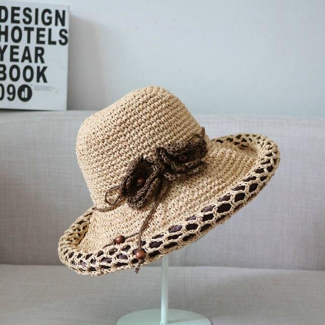 2016 Flor Femenina Mujer sombrero de Ala Sombrero de Paja de Verano Coreano Gorra de plato Sombrero de playa Sólida Protección Solar Sombreros de Sun Gorras Sombreros Para Las Mujeres Elegantes