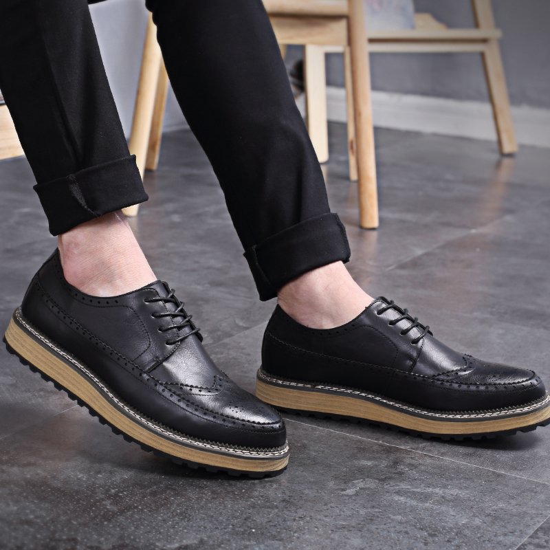 OSCO Luxury Brand Flat Brogue Men Shoes Autumn Fashion High Quality Lace-Up Classic Casual Leather Shoes men British trend shoes