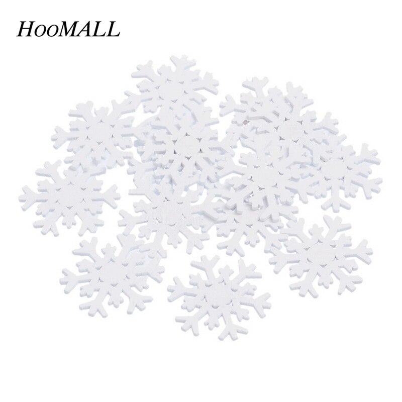 Hoomall Snowflake Wooden Flatback Embellishment Pendant Wedding Christmas Decorations For Home Scrapbooking DIY Craft 100PCs