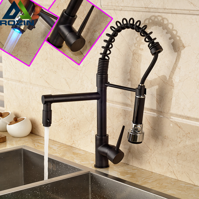 Luxury One Handle Spring Pull Down Kitchen Sink Faucet with Dual Spout LED Color Changing Oil