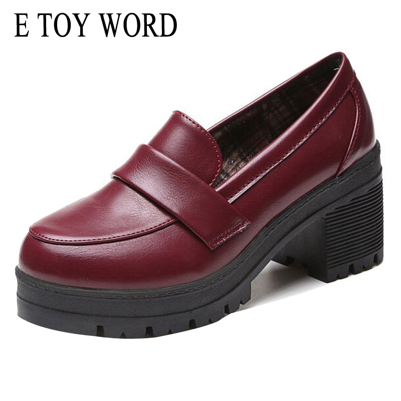 E TOY WORD Platform Shoes 2018 Spring Women Basic Pumps Ladies Casual Thick High Heel Slip On Female Black Loafer Shoes D02 e toy word canvas shoes women han edition 2017 spring cowboy increased thick soles casual shoes female side zip jeans blue 35 40