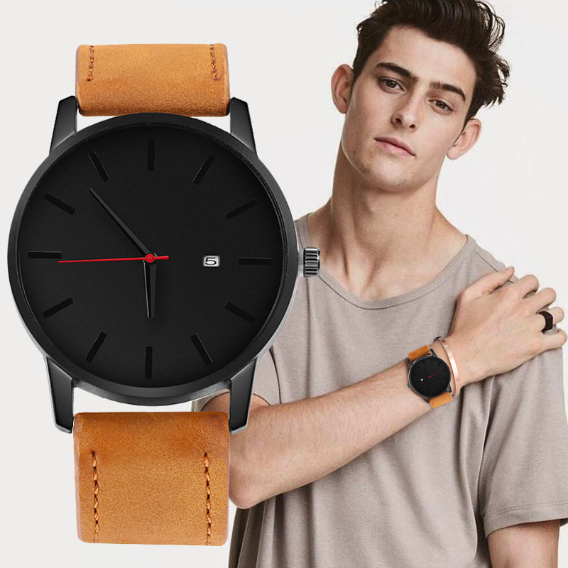 Reloj 2018 Fashion Large Dial Military Quartz Men Watch Luxury Leather Men's Watch Men Complete Calendar Sport Watches Man Clock