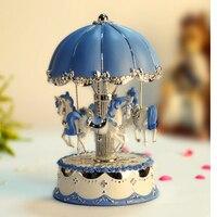 LED Light Music Box Gifts Exquisite Mechanism Valentine's Day Birthday Clockwork Romantic Umbrella Carousel Desktop Craft Horse