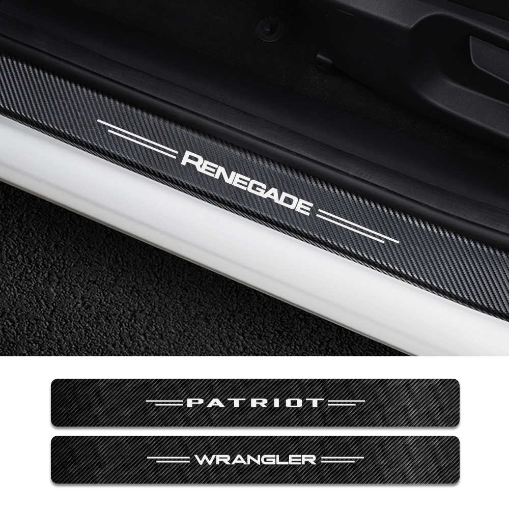 4PCS Car Door Sill Cover Carbon Sticker For Jeep Renegade Wrangler JK TJ Rubicon Cherokee Patriot Trail Hawk Compass Accessories
