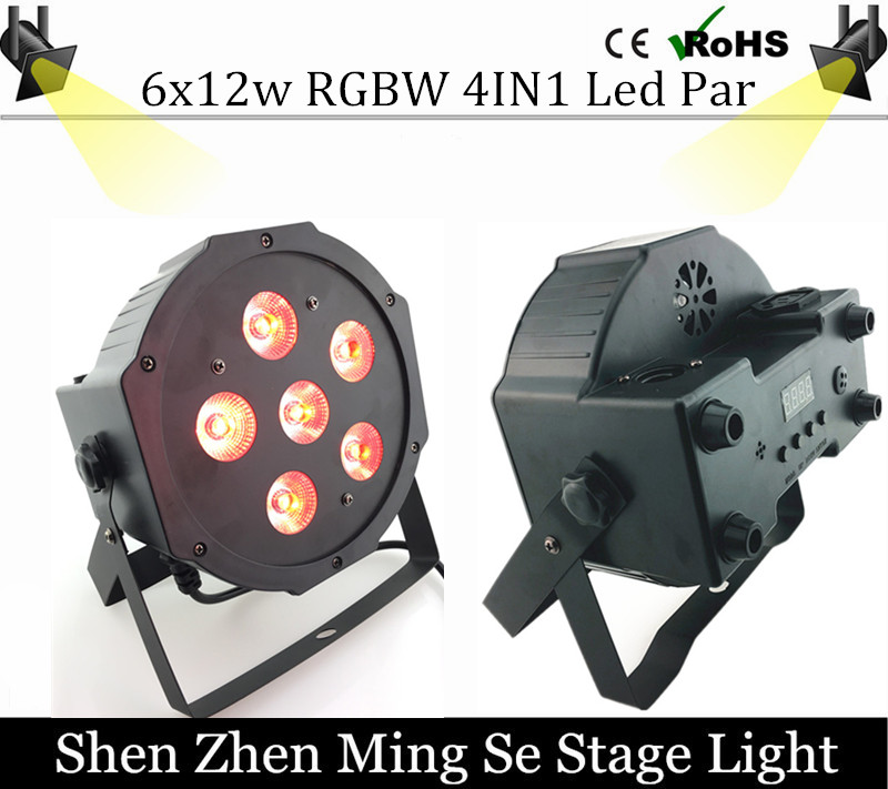 ФОТО 6pcs 12w lamp beads 6x12W led Par lights RGBW 4in1 flat par led dmx512 disco lights professional stage dj equipment