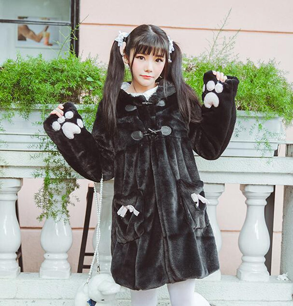 Cute Girls Cartoon Cat Paw Sleeve Lolita Winter Coat Fake Fur Hooded Outwear