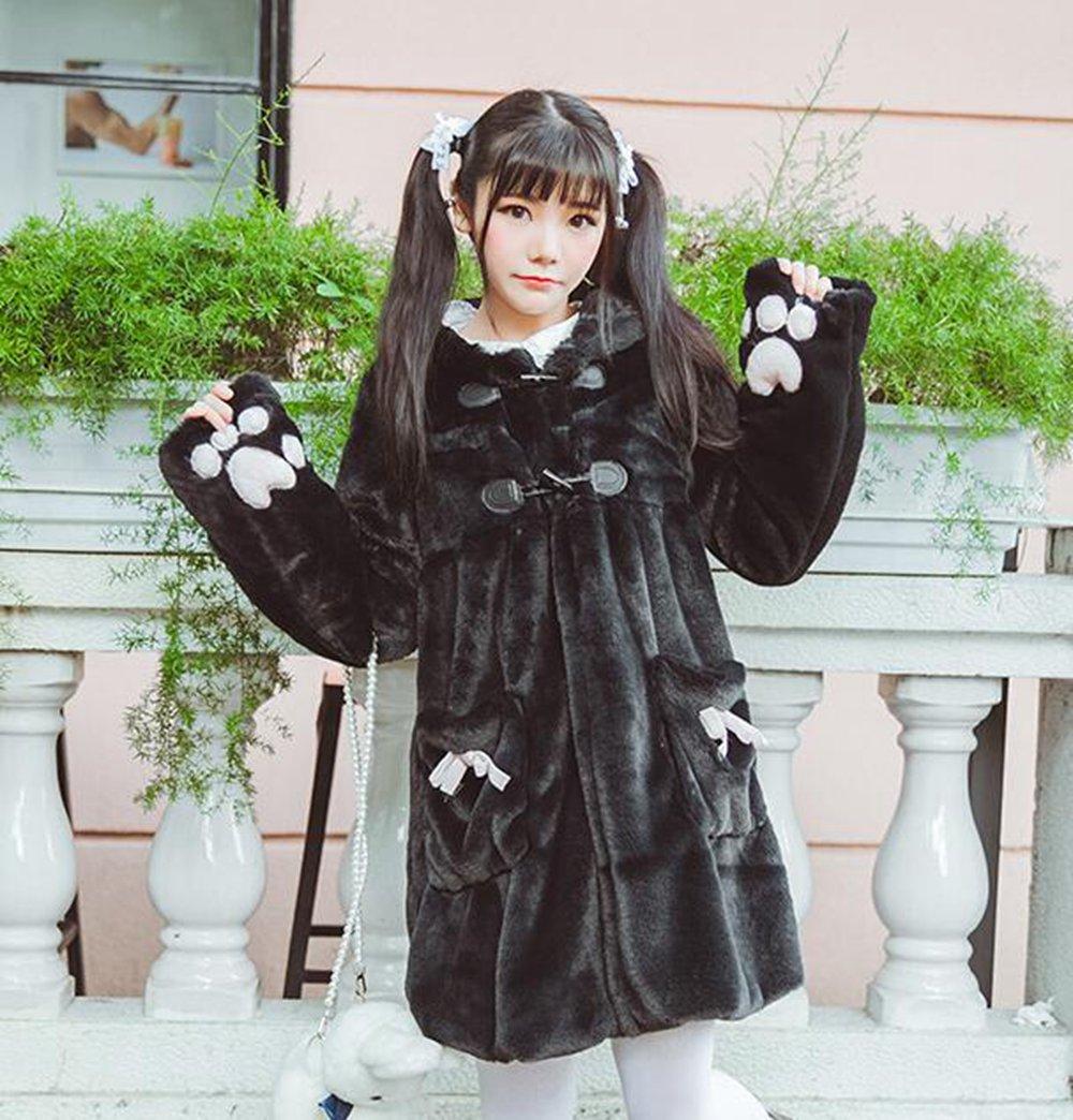 Filles mignonnes dessin animé chat patte manches Lolita hiver manteau fausse fourrure vêtements à capuche