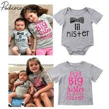 55a0ed026 2018 nuevo bebé recién nacido niños niñas hermana hermano Bodysuit Tops  camiseta familia Matching Outfits verano Tops ropa