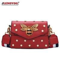 Women's Pearl Bee Leather Handbags Crossbody Bags for Women 2018 Italian Style Luxury Chain Clutch Designer Female Shoulder Bag