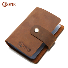 Joyir 100% Genuine Leather Card Holder Double Hasp Women&Men ID Card Bags Holder High Quality Leather Bank credit Card Case K015