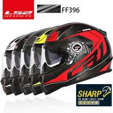 LS2 Magasin Mondial LS2 FF396 En Fiber De Carbone plein visage moto rcycle casque double visière airbag pompe LS2 casco moto capacete barre hjelm