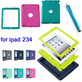 For iPad 2/3/4 Retina Kids Safe Shockproof Heavy Duty Silicone Hard Case Cover Screen Protector+Stylus Pen
