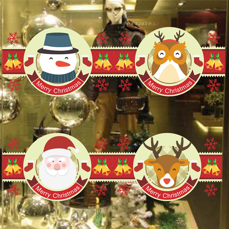 best santa claus snowman christmas decoration for store party new year deer owls bells wall sticker decals store window door decor reviews