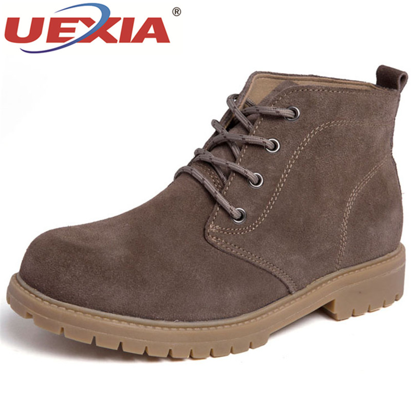 UEXIA Couple Unisex Fashion Men Ankle Boots Autumn Men Motorcycle Boots male Oxfords Shoes Leather men's Casual warm Winter Fur цена