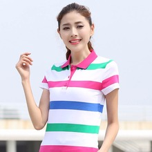 female Spring summer loaded new high-quality short-sleeved stripes Polo the woman Cotton Slim Lapel Casual Wear Shirt T009