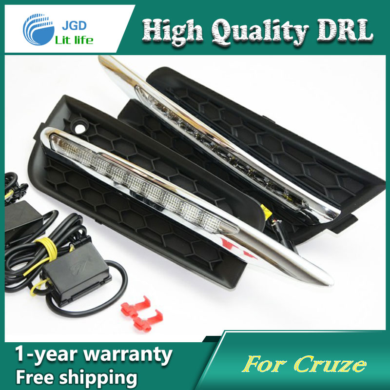 Free shipping !12V 6000k LED DRL Daytime running light case for Chevrolet Cruze 2010-2012 fog lamp frame Fog light Car styling недорого