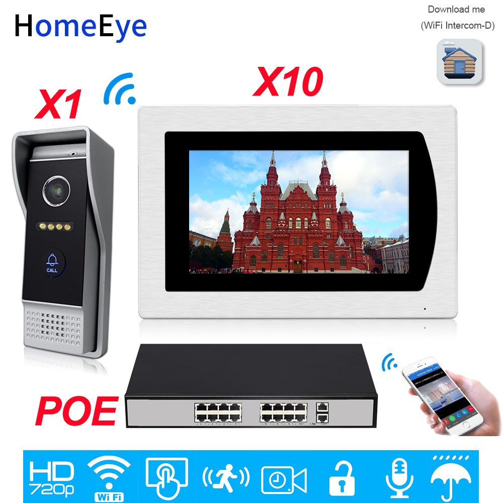 Wifi Video Intercom Smart Phone App Unlock IP Video Door Phone Home Access Control System 1-10 Motion Detection 7'' Touch Screen