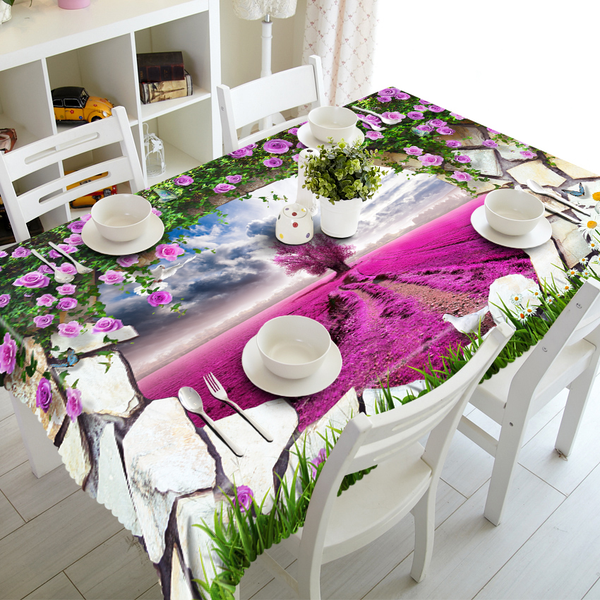Waterproof Tablecloth polyester Dinner Party Table Cloth ...