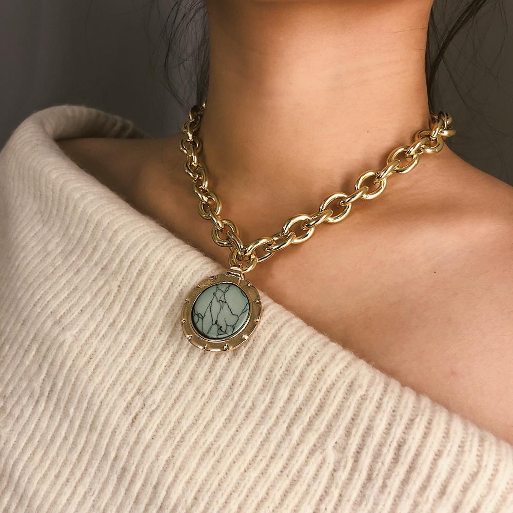 Vintage Geometric Original Stone Coin Pendant Necklace For Women Bohemian Big Round Charm Fashion Jewelry Wholesale
