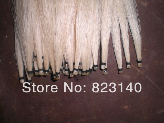 60 Hanks White Mongolia Violin Bow Hair 32 (6 grams/hank), Violin horse hair 60 hanks stallion white bow hair including 30 hanks black