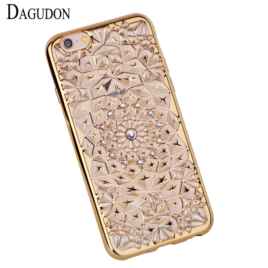 DAGUDON Luxury Diamond Bling cases for iphone 6 Gold Plating Silicone back cover Phone case for iphone 6s 6 soft TPU Cover Coque