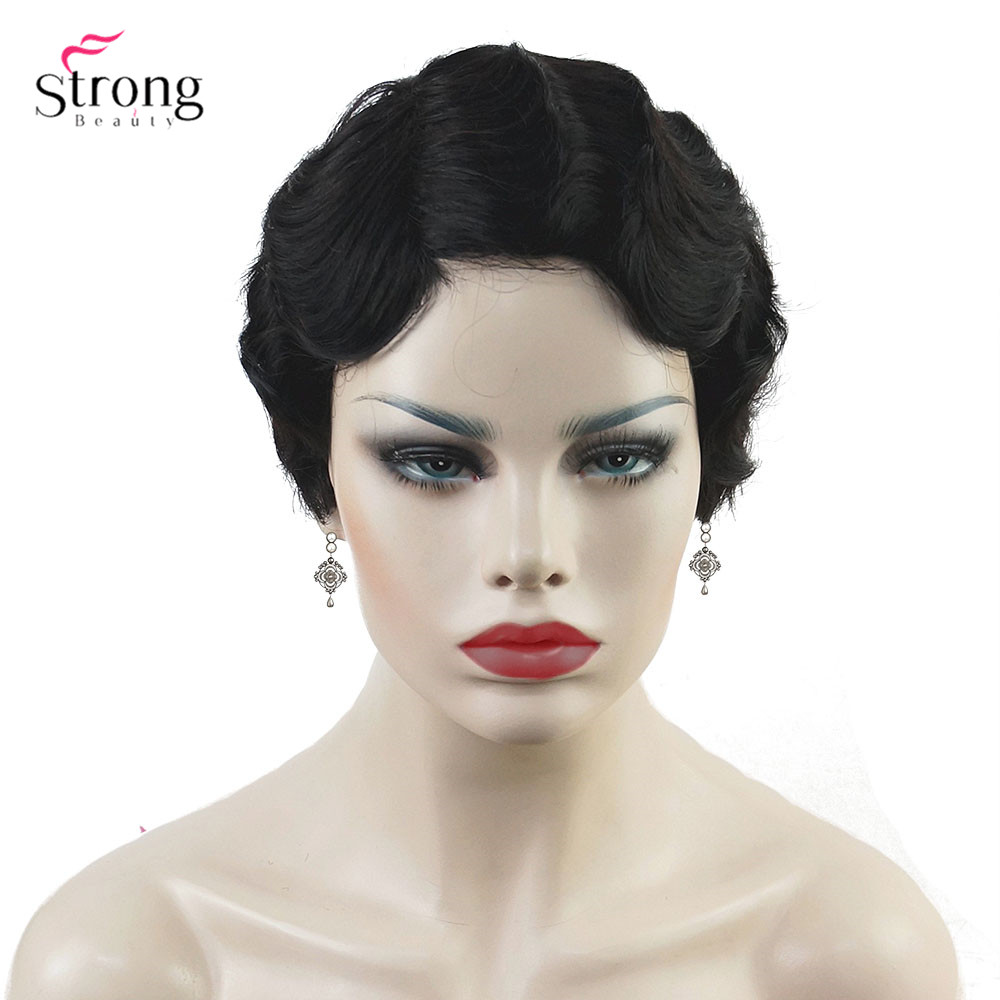 Image 5 - Wine red/Black African Short Finger Waves Hairstyles Human Hair Wig Flapper Hairstyle Wig For Black WomenSynthetic Blend Wigs   -