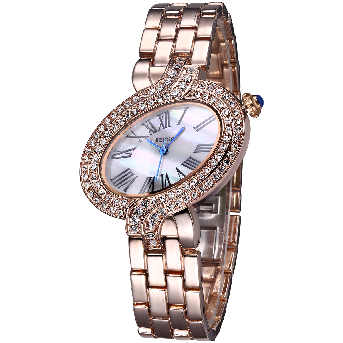 ФОТО WEIQIN Waterproof Quartz Movement Roman Number Scale Unique Design Dial Rhinestone Bezel Fashion Rhinestone Women watches