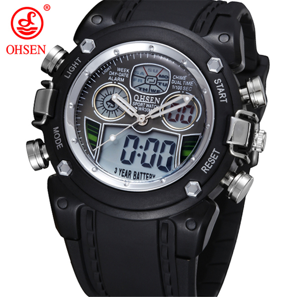 OHSEN Alarm-Light Sports-Watch Weekday Digital Black Fashion AD0721-1 Gift Multifunction