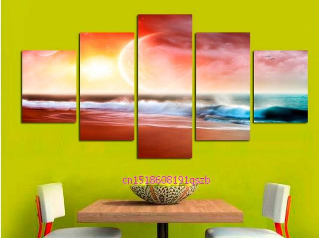 Abstract Canvas Painting Sea Wave painting Wall Framed Decoration ...