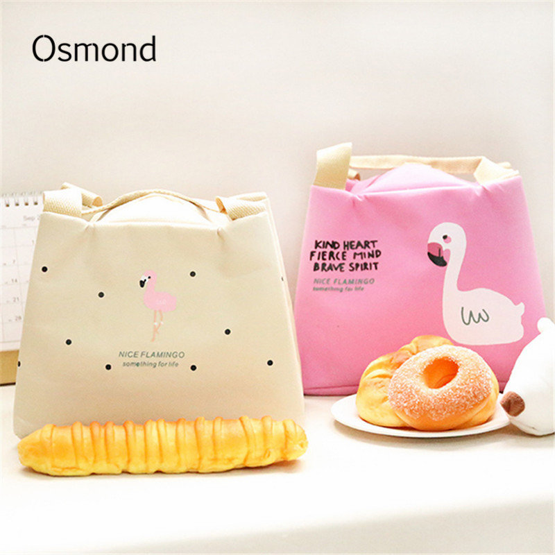 AEQUEEN Thermal Lunch Bag For Kid Cute Flamingo Picnic Boxes Canvas Cartoon Animal Printing Food Cooler Bags Insulated Tote aequeen thermal lunch bag for kid cute flamingo picnic boxes canvas cartoon animal printing food cooler bags insulated tote