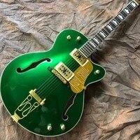 На заказ двойной F полый корпус джаз электрогитара, палисандр гриф, золото аппаратные средства зеленый цвет gitaar, вибрато системы