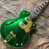 Custom double F hollow body Jazz electric guitar,Rosewood fingerboard, Gold hardware green color gitaar,vibrato system