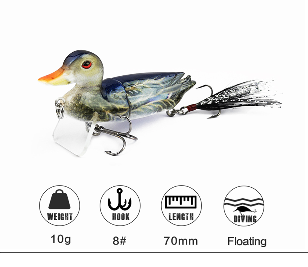7cm 10g Topwater Floating Duck Baits with Hooks Jointed Fishing Lure 4