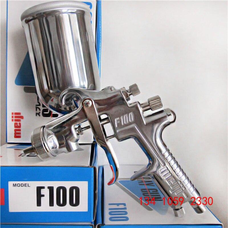Frete grátis, original Japão F-100 gravidade Pistola Meiji, F100 pistola de pintura, 1.0 1.3 1.5 milímetros de tamanho do bico para escolher, a pintura do carro