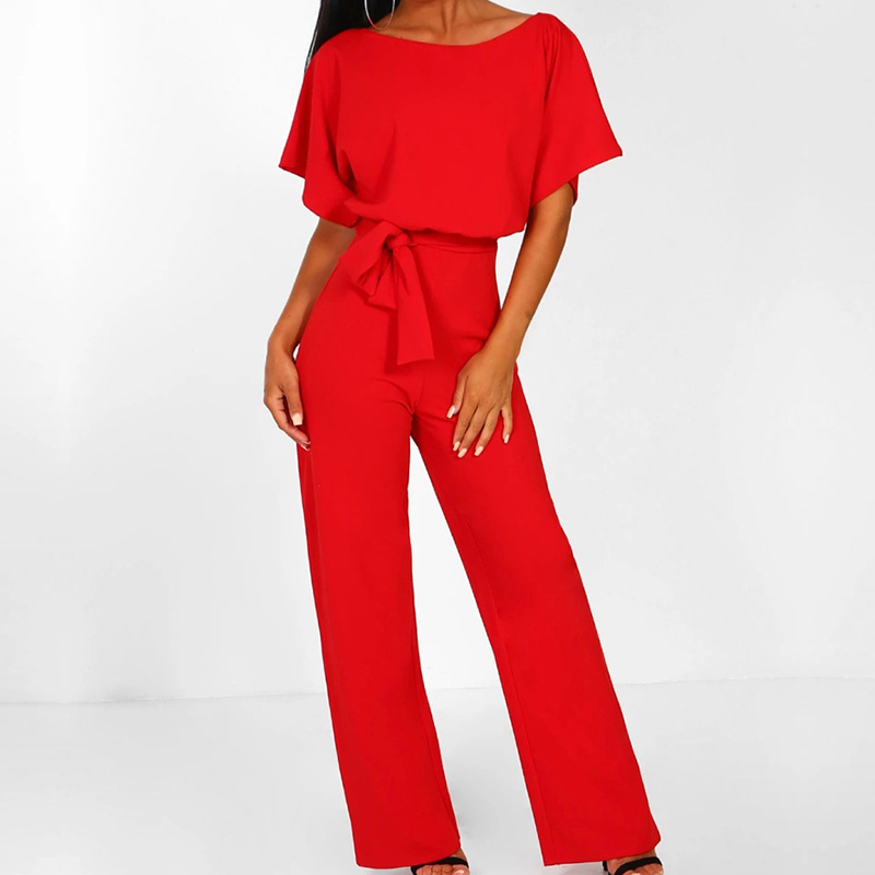 Missufe Short Sleeve 2019 New Women   Jumpsuit   Solid Back Button Bodysuits Womens Casual Spring Summer Overalls Female   Jumpsuits