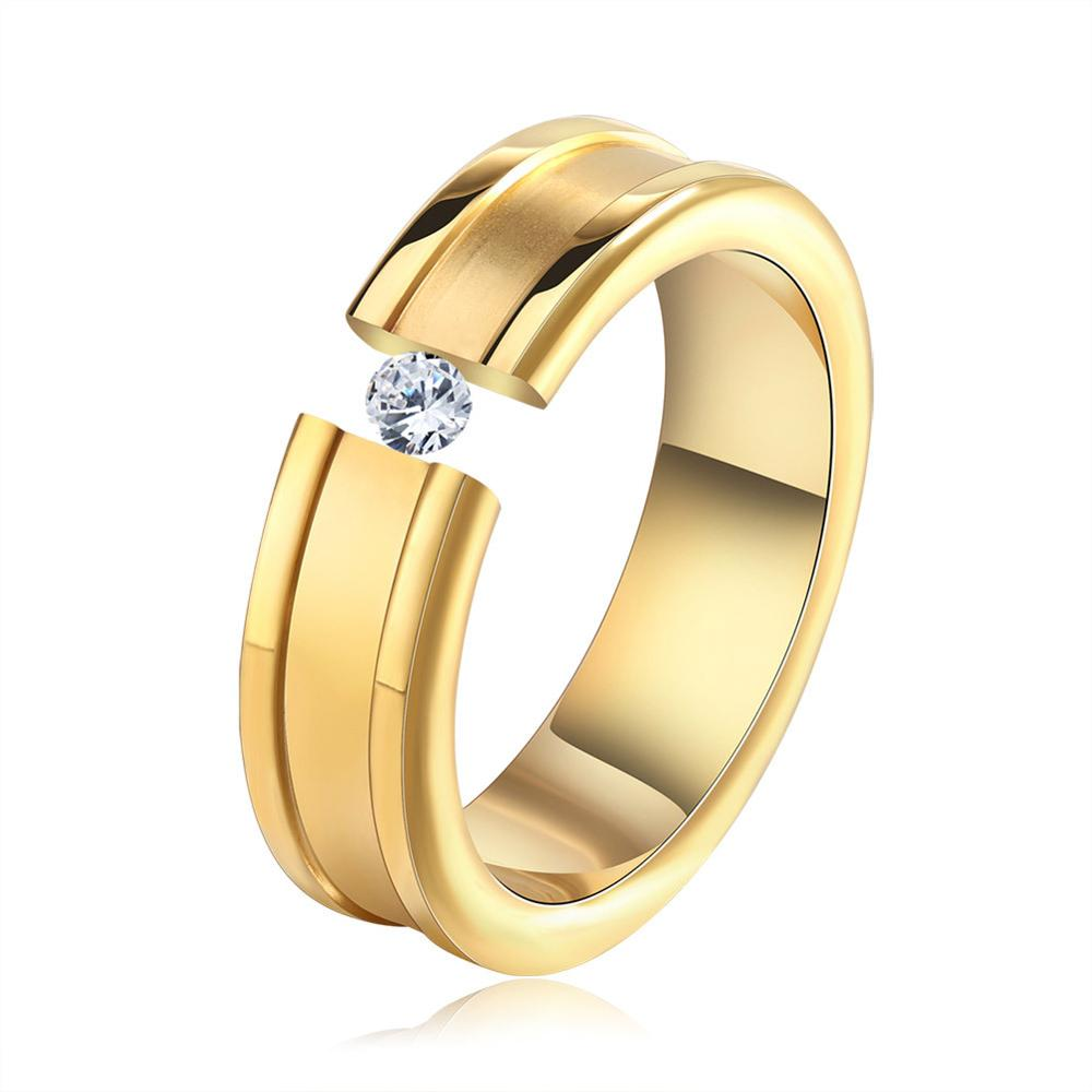 Hot Sale High Quality Single Cubic Zircon Metal ring Stainless Steel rings Gold Color jewelry Wholesale ZK40
