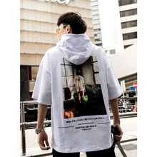 UNCLEDONJM Hip Hop Japanese Girl Printed Short Sleeve Hooded Sweatshirts Harajuku Casual Hoodies Streetwear Summer Hoody 274S
