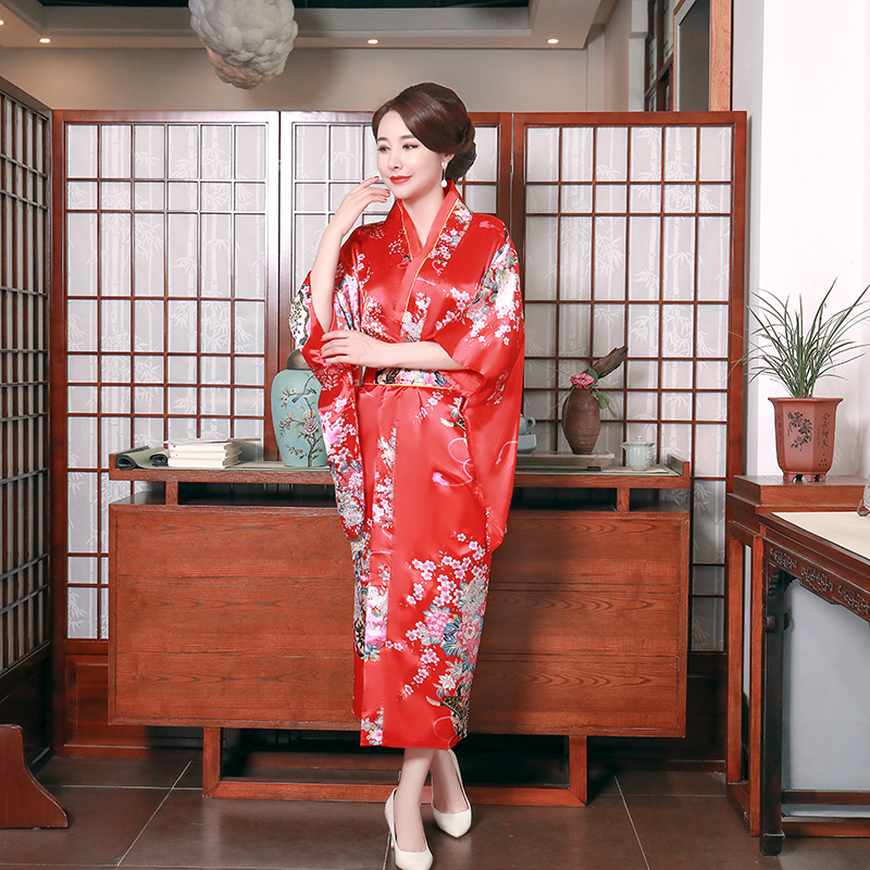 One Size Sexy Female Cosplay Clothing Satin Novelty Women Japanese Style Kimono Bathrobe Gown Print Flower Evening Party Dress