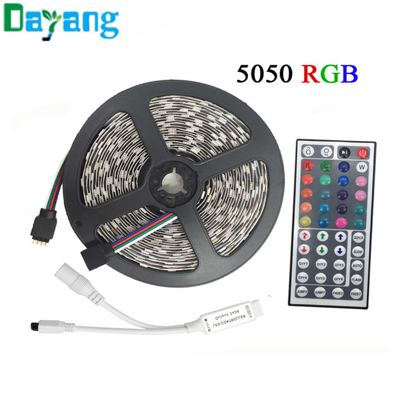 10M 5M RGB LED Strip 5050 set with IR Remote Controller DC 12V SMD 60leds/M 30leds/M waterproof 10M 600 LEDs RGB tape LED Light 10m 5m 3528 5050 rgb led strip light non waterproof led light 10m flexible rgb diode led tape set remote control power adapter