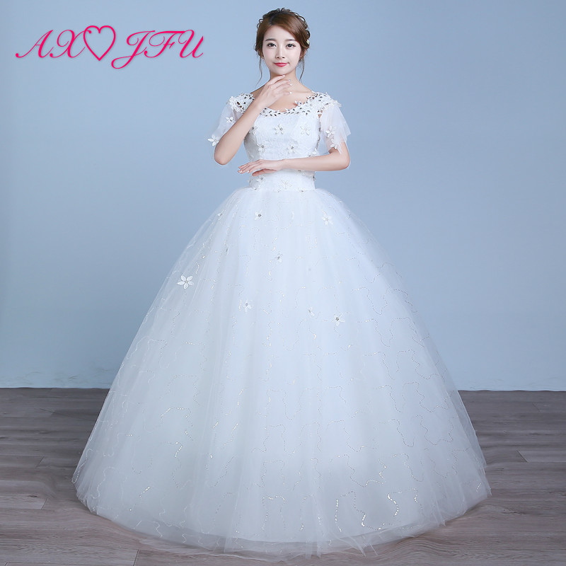 AXJFU White Flower Lace Wedding Dress Princess Vintage V Neck Beading Crystal Ruffles Party Red Lace Wedding Dress