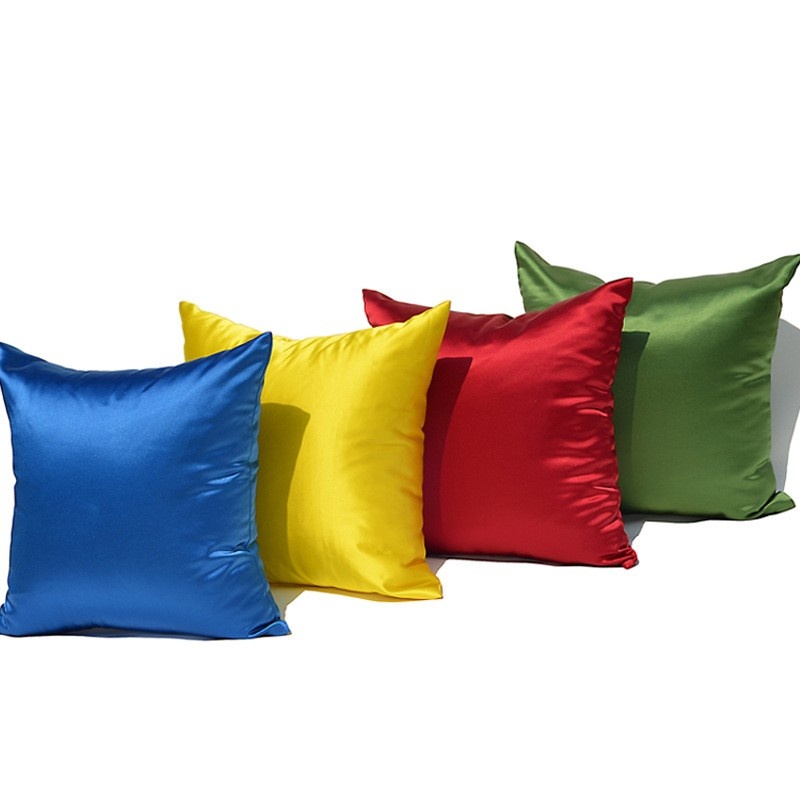 Satin Silk Like Sofa Solid Color Bzl01 Pillow Cushion