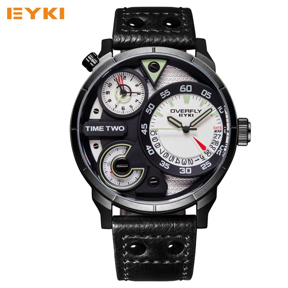 Prix pour Eyki super grand multicouche stéréoscopique cadran deux fuseau horaire affichage de mode sport montre hommes étanche lumineux de luxe marque montre