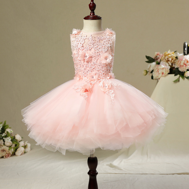Image 3 - Fancy Flower Girl Dress with Train 2019 Children Show Performance Costume Kids Long Mermaid Tulle Pink Gowns Boutique Clothes-in Dresses from Mother & Kids