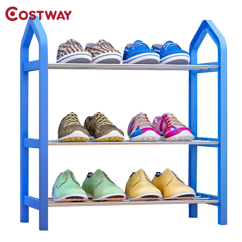 COSTWAY 3 Tier Shoes Rack Shoe Cabinets Stand Shelf Shoes Organizer Living Room Bedroom Storage Furniture W0180