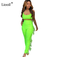 b8b2021a8f Liooil Women Two Piece Outfits Sexy Tassel Jumpsuits Tights For 2019  Sleeveless Green Party Club Jumpsuit Long Flare Pants