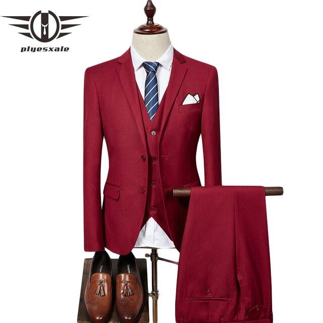 Plyesxale rojo púrpura Trajes para hombres negocios Trajes formal slim fit  3 unidades mens traje de 8a6d72b566c0