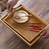 Móveis para casa estilo japonês bambu bandeja de chá do agregado familiar grande conjunto chá bandeja retangular pires bambu